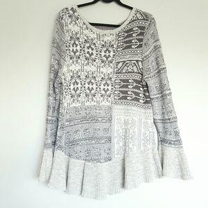 Style & Co. Grey patchwork ruffle hem sweater